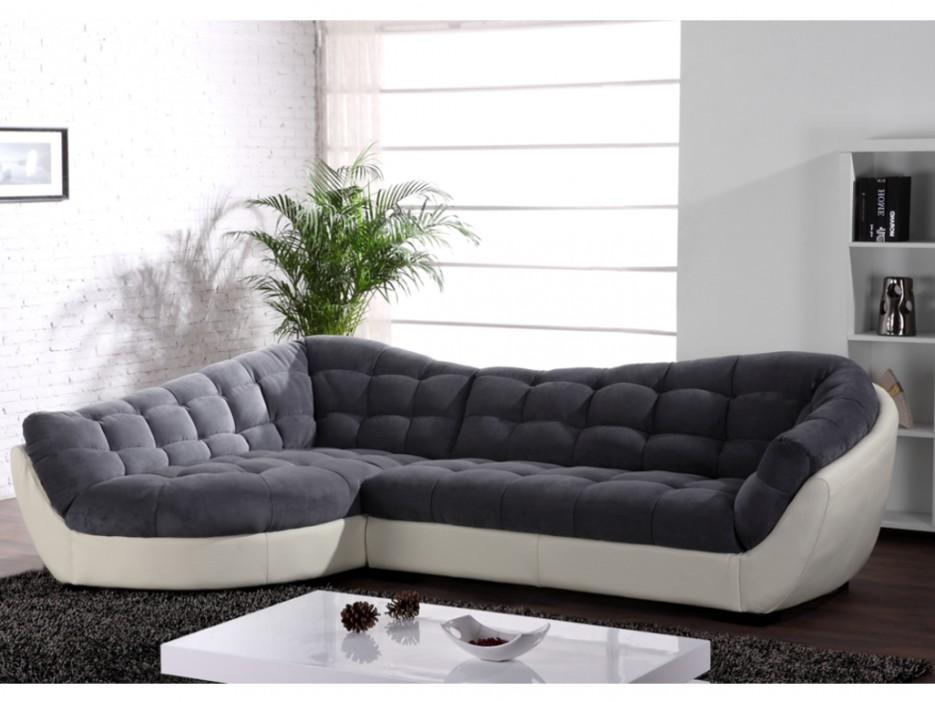 xxl ecksofa rundecke leder microfaser leandro grau elfenbein wei ecke links kaufen bei. Black Bedroom Furniture Sets. Home Design Ideas