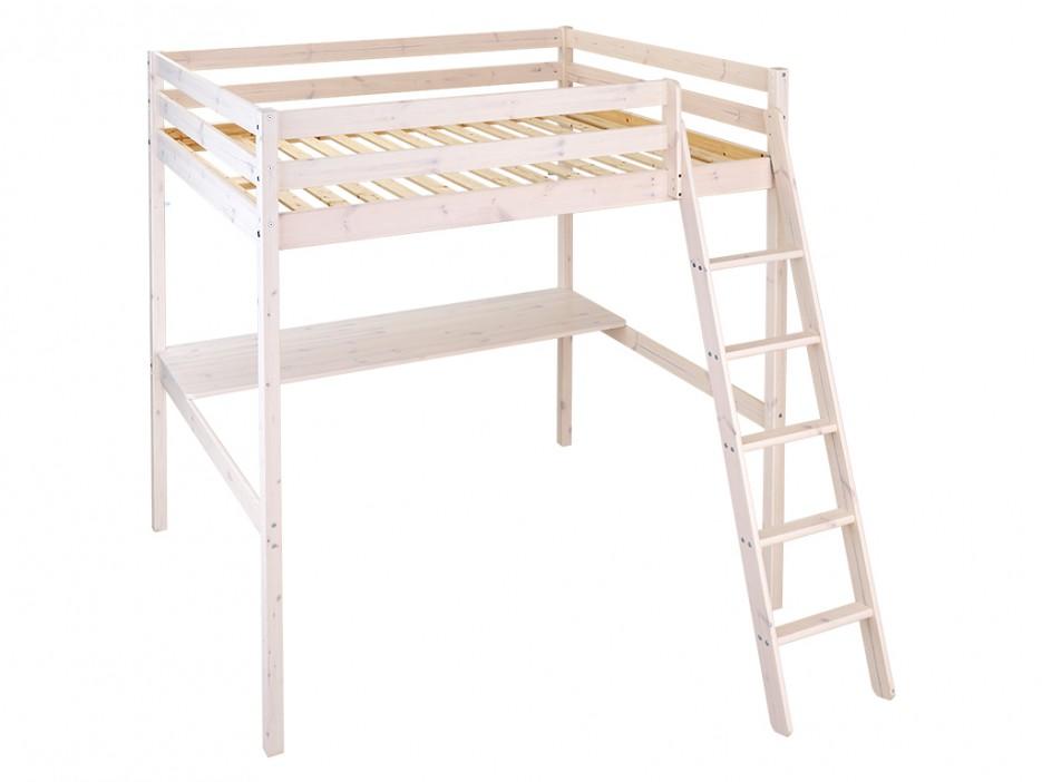 hochbett massivholz mit schreibtisch gedeon lattenrost. Black Bedroom Furniture Sets. Home Design Ideas