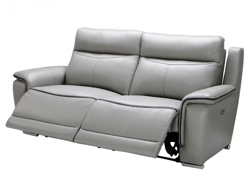 relaxsofa leder elektrisch 3 sitzer paosa grau mit anthrazitgrauer ziernaht kaufen bei kauf. Black Bedroom Furniture Sets. Home Design Ideas