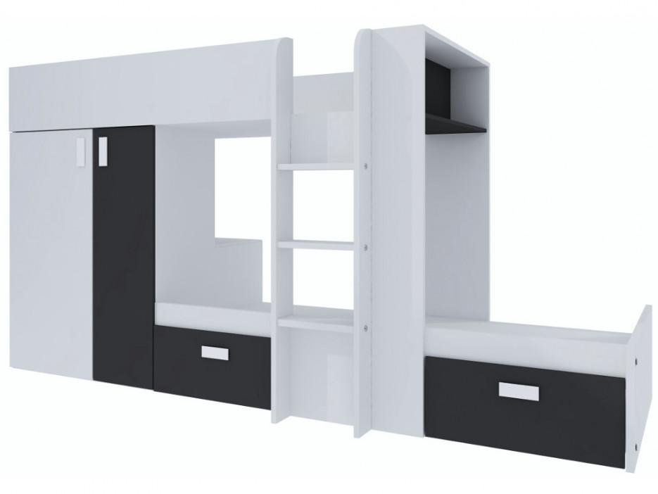 Etagenbett Julien : Etagenbett julien lattenrost 2x90x190cm weiß schwarz kaufen