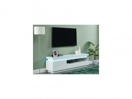 TV-Möbel mit LED-Beleuchtung EMERSON - 1 Tür & 2 Schubladen - Holz (MDF) - Weiß - Vorschau 2