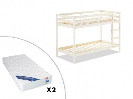 Set Etagenbett Massivholz ANICET + Lattenrost + 2 Matratzen - 2x90x190cm - Kiefer Geweißt