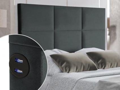 Bett-Kopfteil mit USB-Anschlüssen KARY - 140 cm - Samt - Grau
