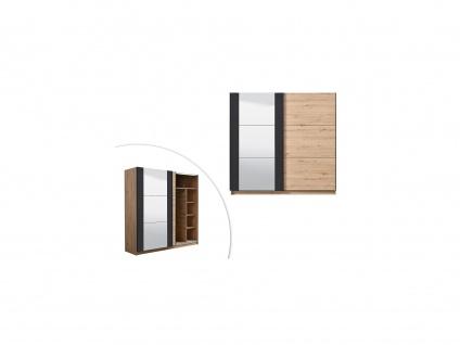 Kleiderschrank mit Spiegel PHILADELPHIE - 2 Schiebetüren - Breite: 217 cm - Eiche & Schwarz