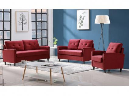 Couchgarnitur 3+2+1 mit Stauraum NEYLI - Stoff - Rot