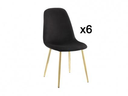Stuhl 6er-Set Samt MIKAELA - Schwarz/Goldfarben