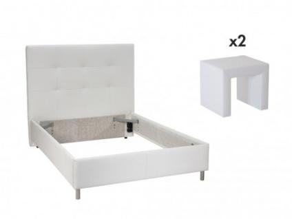 Sparset SORIA - 160x200cm - Weiß: Bett + 2 Nachttische