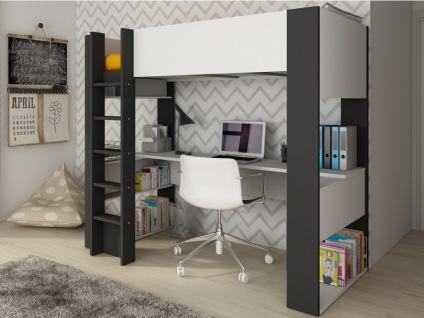Hochbett mit Schreibtisch NOAH - 90x200cm - Weiß & Anthrazit