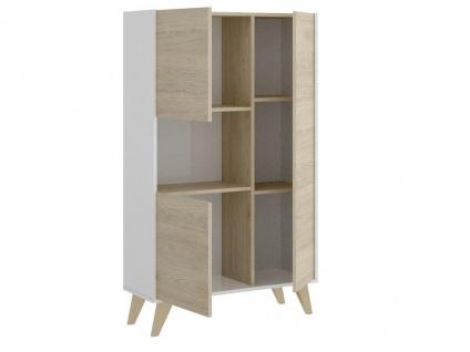Hochkommode KOLYMA - 3 Türen & 1 Ablage - Eiche & Weiß