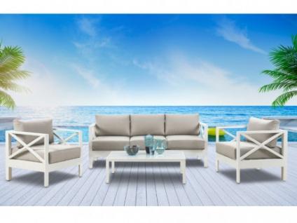 Garten Sitzgruppe SERAM (4-tlg.): Sofa, 2 Sessel + Tisch