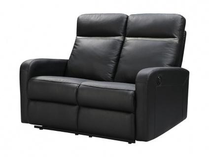 Relaxsofa 2-Sitzer elektrisch ABERDEEN - Leder - Schwarz mit anthrazitfarbenem Streifen