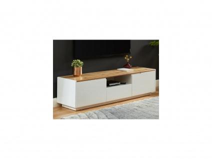 TV-Möbel AMANI - 2 Türen & 1 Schublade - MDF lackiert - Weiß/Eichenholzfarben