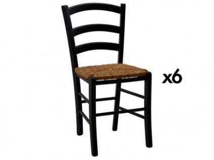 Stuhl 6er-Set Holz massiv PAYSANNE - Schwarz