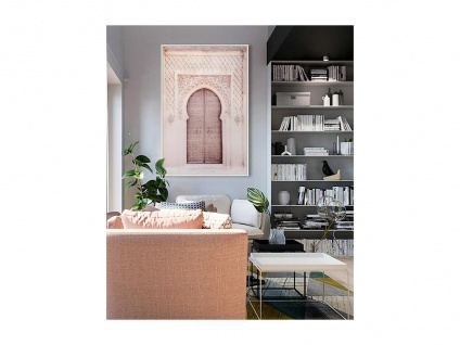 Kunstdruck gerahmt DOOR - 80 x 120 x 2, 5 cm - Rosa & Beige
