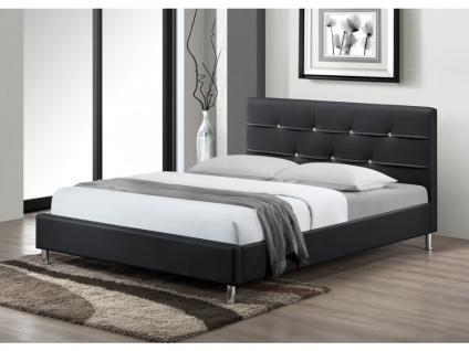 Sparset Bett Strass GABIN + Lattenrost - 140x190cm - Schwarz - Vorschau 3
