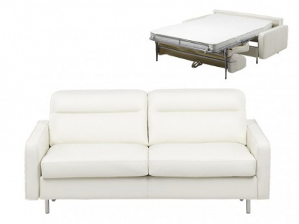 Schlafsofa Leder Express Bettfunktion mit Matratze 3-Sitzer Veronique - Standardleder - Weiß