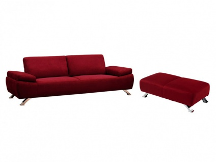 Couchgarnitur Microfaser Polka 3+1 - Rot