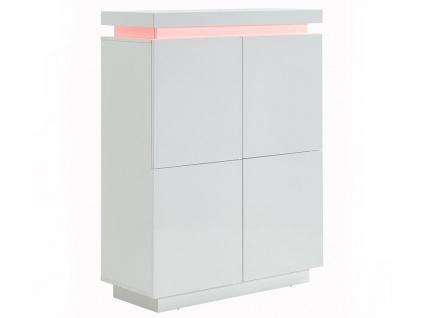 Highboard mit LED-Beleuchtung EMERSON II - 4 Türen - Holz (MDF) - Weiß