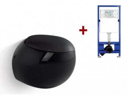 Wand WC Keramik Huro - Schwarz + Wand WC Element Tobi
