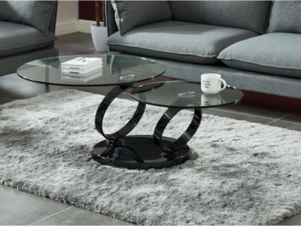 Couchtisch mit drehbaren Tischplatten Sicherheitsglas & Metall JOLINE - Transparent/Schwarz