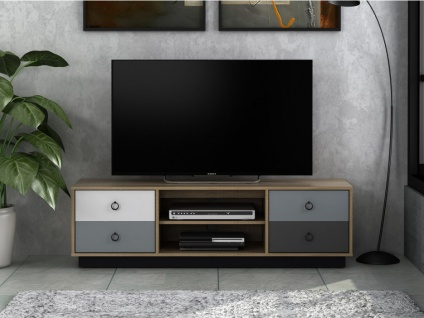 TV-Möbel KRYPTON - 4 Schubladen - Eiche, Weiß & Grau