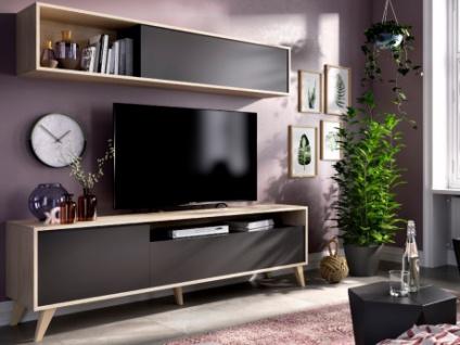 TV-Möbel TV-Wand mit Stauraum ALBORA - Anthrazit/Eichenholzfarben