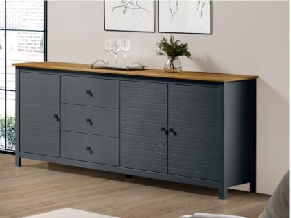 Sideboard NEWPORT - 3 Türen & 3 Schubladen - Blaugrau & Eiche