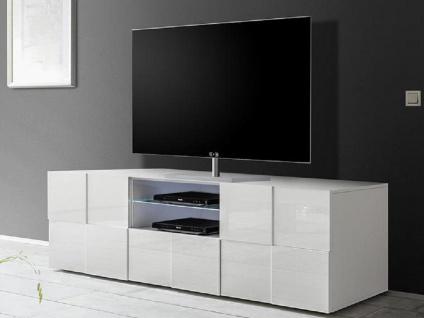 TV-Möbel mit LED-Beleuchtung CALISTO - Weiß lackiert