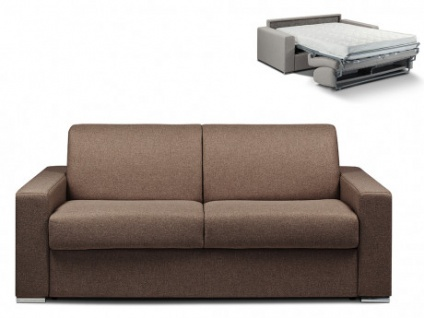 Schlafsofa 3-Sitzer Stoff CALITO - Braun - Liegefläche: 140 cm - Matratzenhöhe: 18cm