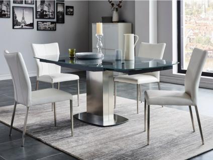 Essgruppe TALICIA: Esstisch & 4 Stühle - Grau & Weiß