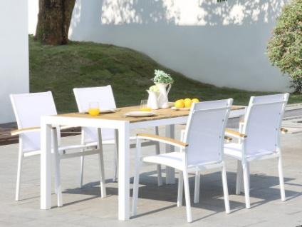 Garten Essgruppe VAIAKU - Tisch & 4 Stühle - Weiß