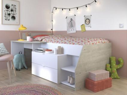 Kinderbett mit Schreibtisch & Stauraum GISELE - 90x200cm