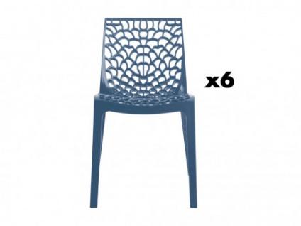 Stuhl 6er-Set Diadem - Kunststoff - Blau