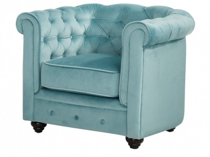 Chesterfield Sessel Samt ANNA - Blau 4