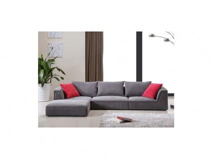 Ecksofa Stoff Houston - Niedrige Sitzhöhe: 24 cm - Grau - Vorschau 3