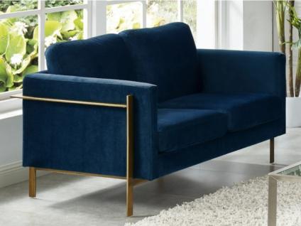 2-Sitzer-Sofa Samt BAROU - Blau