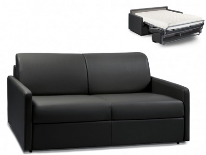 Schlafsofa 3-Sitzer CALIFE - Schwarz - Liegefläche: 140 cm - Matratzenhöhe: 18cm