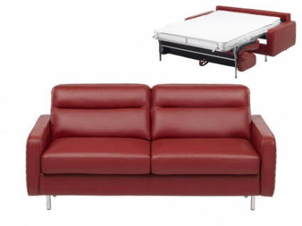 schlafsofa leder express bettfunktion mit matratze 3 sitzer veronique standardleder rot. Black Bedroom Furniture Sets. Home Design Ideas