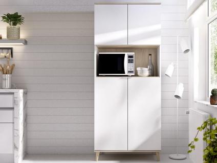 Küchenschrank WAJDI - 4 Türen & 1 Ablage - Weiß & Eiche