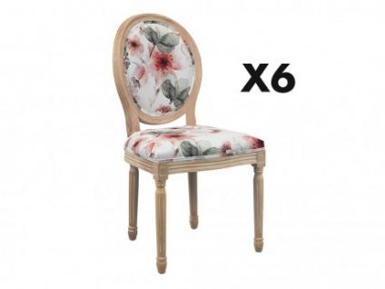 Stuhl 6er-Set Stoff in Samt-Optik LOUIS XVI - Blumenmotiv