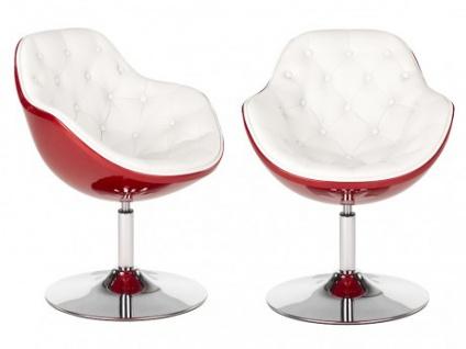 Lounge-Sessel 2er-Set Elvita - Drehbar - Rot & Weiß