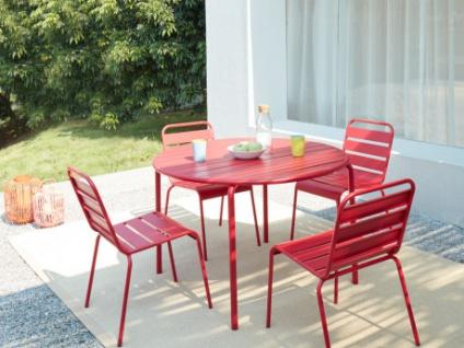 Garten Essgruppe Metall MIRMANDE - Tisch D. 110 cm & 4 Stühle - Rot