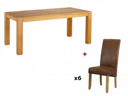 Sparset BROCELANDE II: Esstisch + 6 Stühle