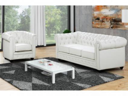 Couchgarnitur 3+1 CHESTERFIELD - Weiß
