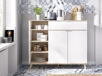 Küchenschrank WAJDI - 2 Türen, 1 Schublade & 4 Ablagen - Weiß & Eiche