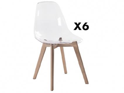 Stuhl 6er-Set AUDRA - Polycarbonat & Buche - Transparent