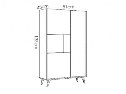 Hochkommode KOLYMA - 3 Türen & 1 Ablage - Eiche & Anthrazit - Vorschau 5