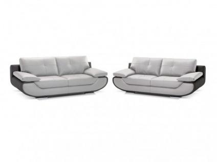 Ledergarnitur Orgullosa 3+2 - Luxusleder - Zweifarbig: Grau & Anthrazit