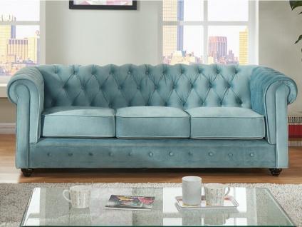 3-Sitzer-Sofa Chesterfield Samt ANNA - Blau - Vorschau 2