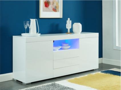 Sideboard mit LED-Beleuchtung BOLIDE - 2 Türen & 3 Schubladen - Weiß